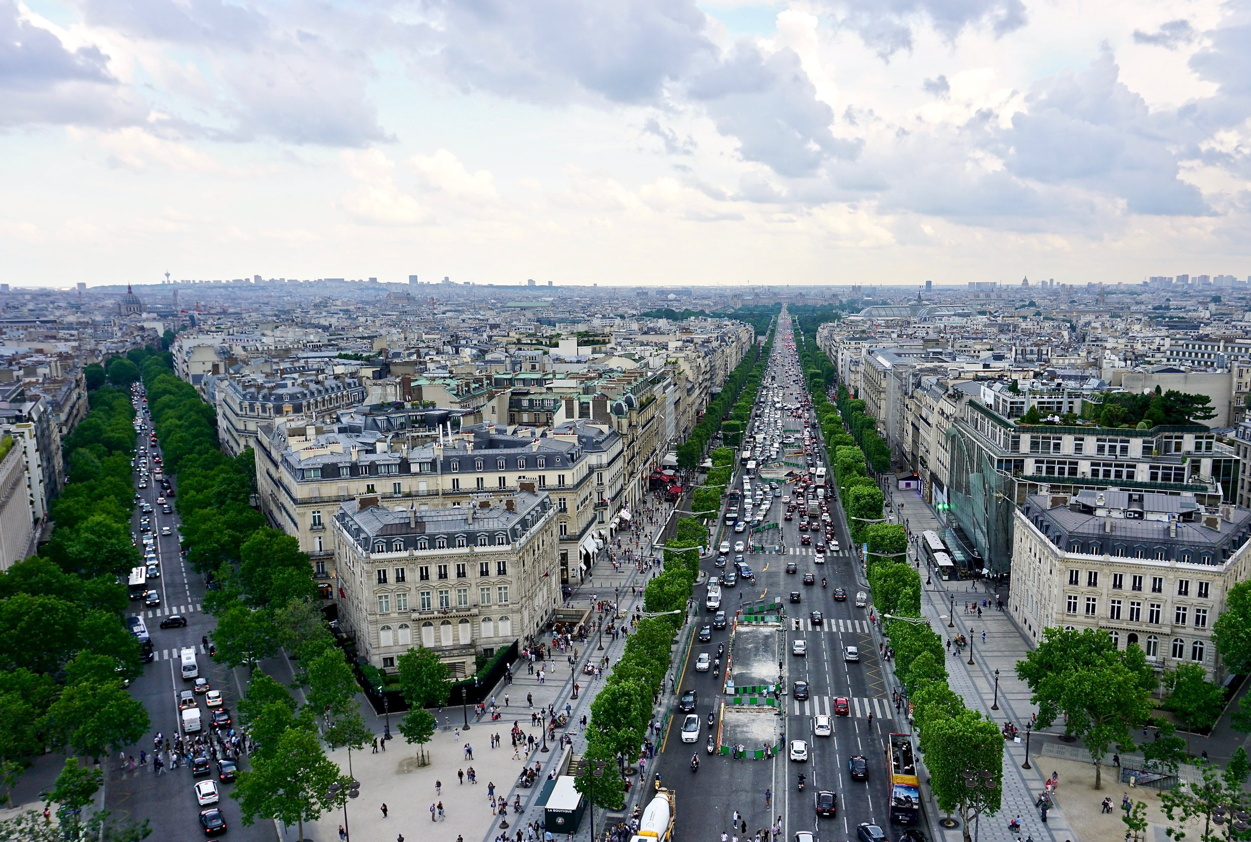 View of the the Champs-Élysée from the top of the Arc de Triomphe