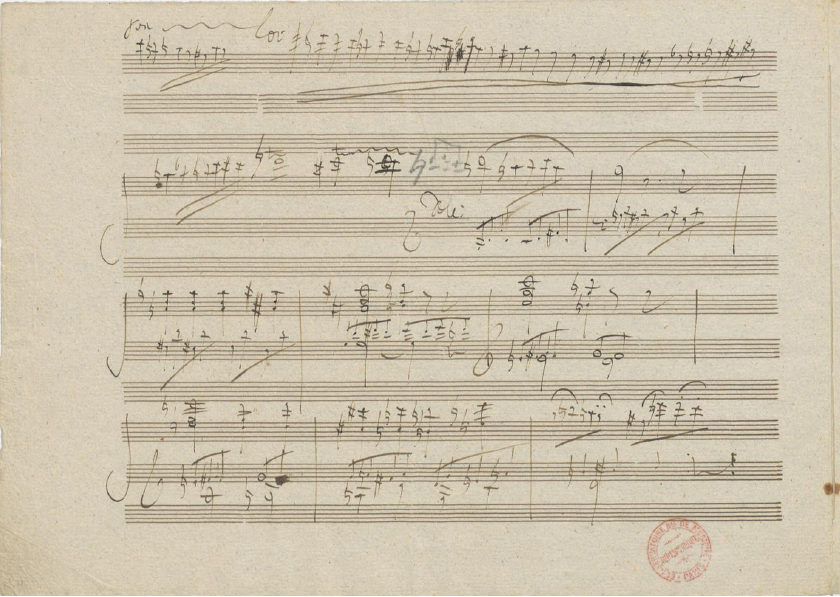 Beethoven's manuscript for the first movement cadenza.