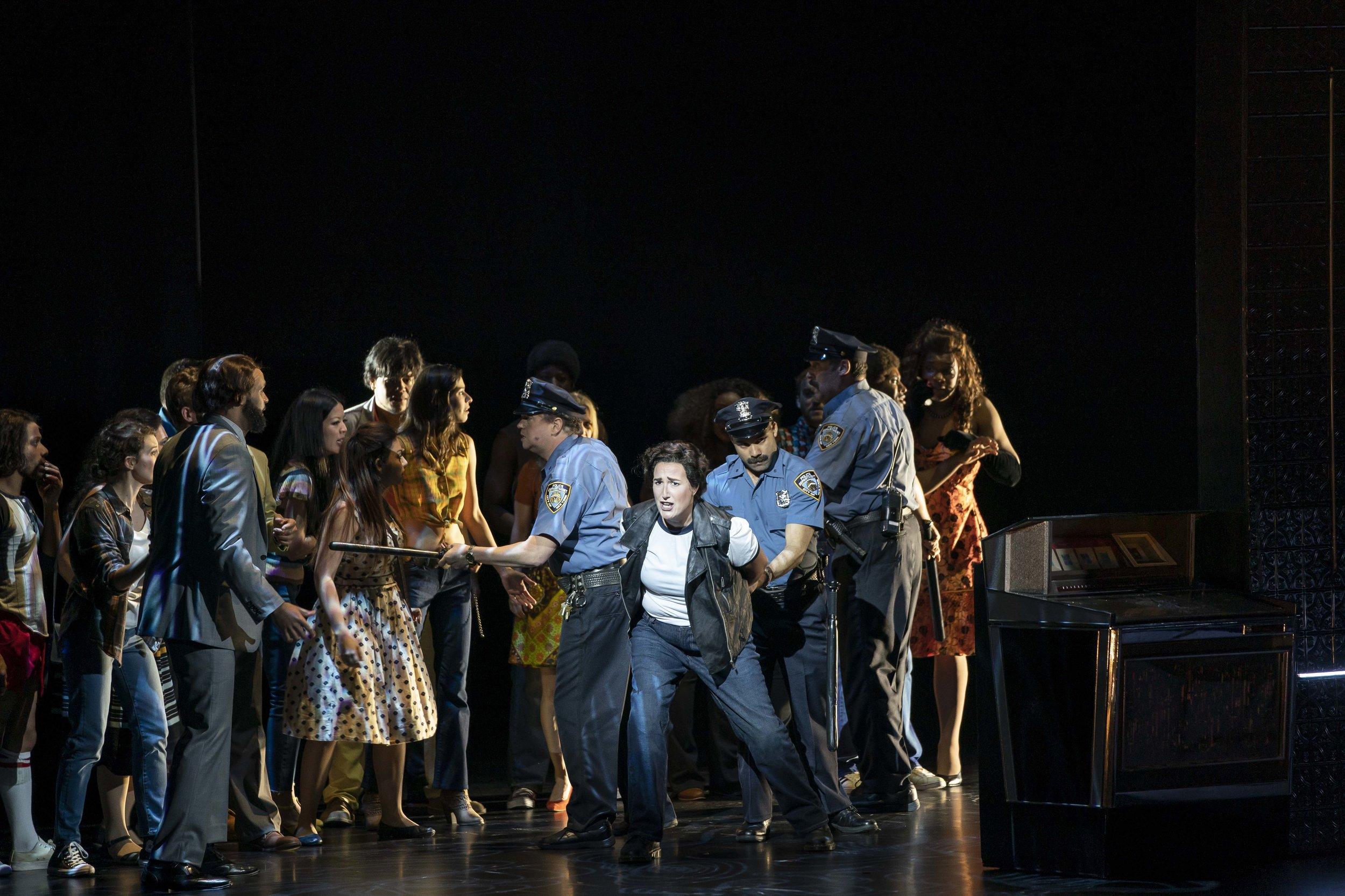 Lisa Chavez (center) and the company of New York City Opera's STONEWALL.  Photo by Sarah Shatz.