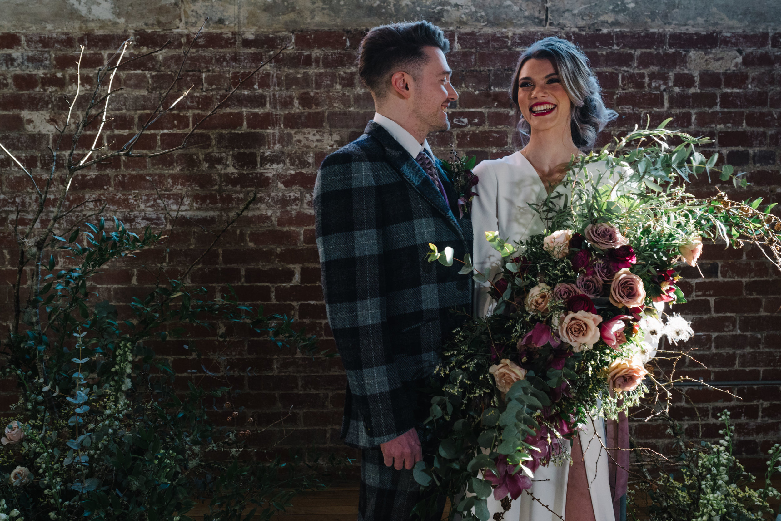 Modern Wedding Inspiration Shoot in Glasgow Brewery With a Frill Installation, Candy Floss and Neon 00129.jpg