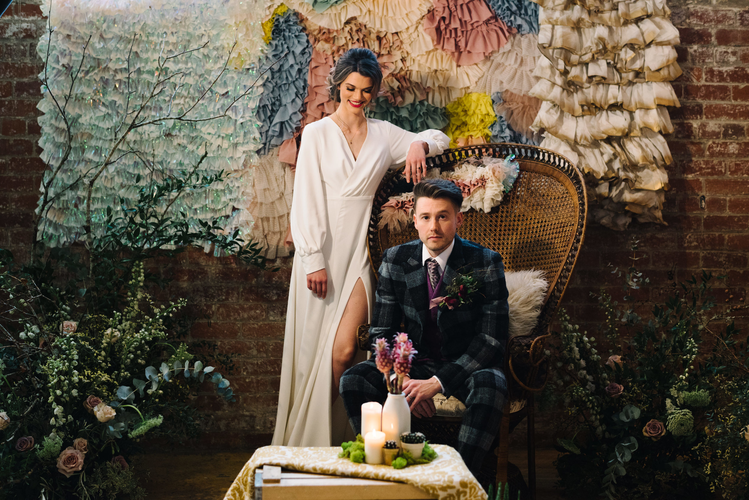 Modern Wedding Inspiration Shoot in Glasgow Brewery With a Frill Installation, Candy Floss and Neon 00013.jpg