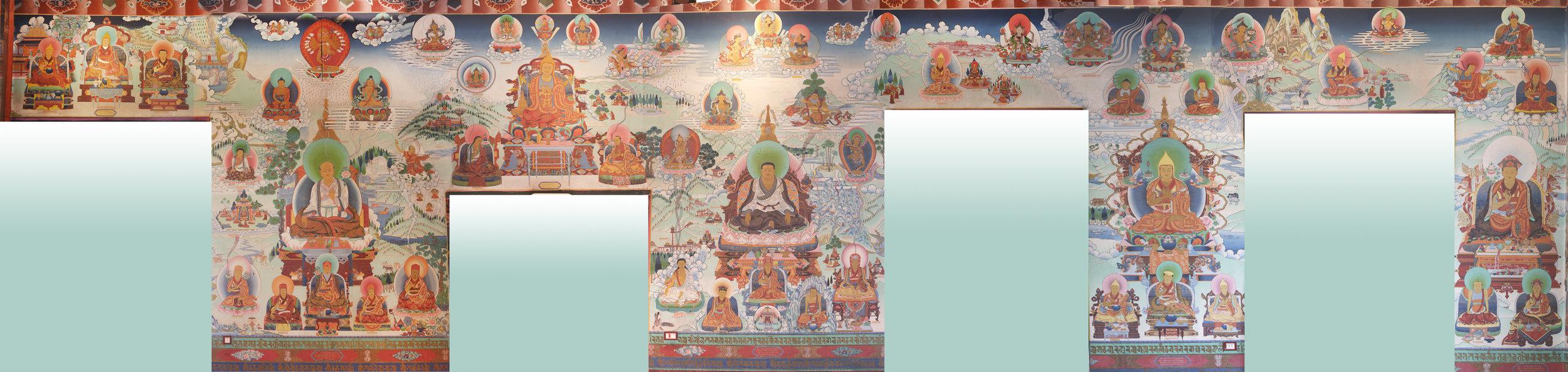 The North Wall features as central figures Sachen Kunga Wangpo, Marpa, Jowa Atisha, Je Tsongkhapa, and Shechen Gyaltsab Rinpoche. Smaller figures include Milarepa, Saraha, Tilopa, Gampopa, Jamgon Kongtrul Lodro Thaye, 16th Karmapa Rangjung Rigpe Dorje, Birupa, Nagarjuna , Loter Wangpo, and Asanga.