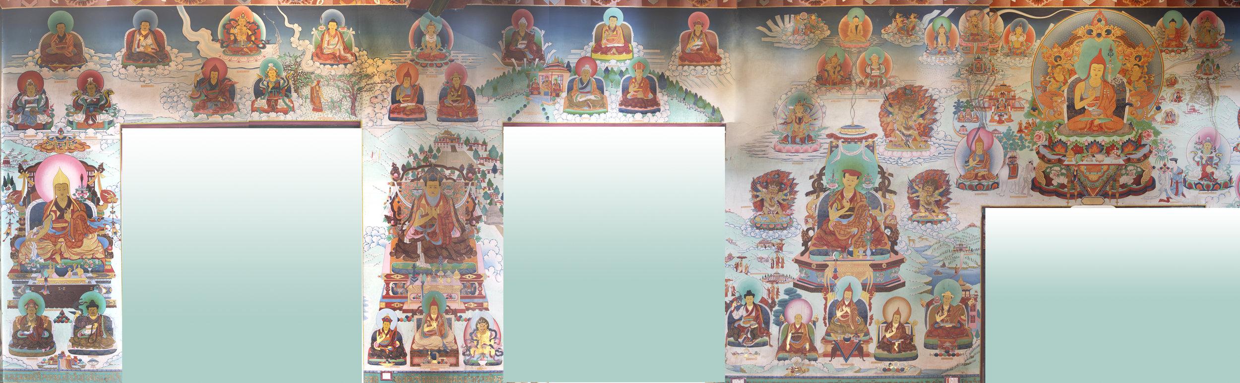 The South Wall depicts the 1st Rabjam Rinpoche (Shechen Rabjam Tenpe Gyaltsen), Mindrolling Terchen, Nyak Jnanakumara, the great Guru Padmasambhava, and Nyangrel Nyima Oser. Smaller figures include Khenpo Shantarakshita, King Trisong Detsun, Vairostana, Dorje Lingpa, and Drapa Ngonshe (discoverer of the Four Medicine Tantras).