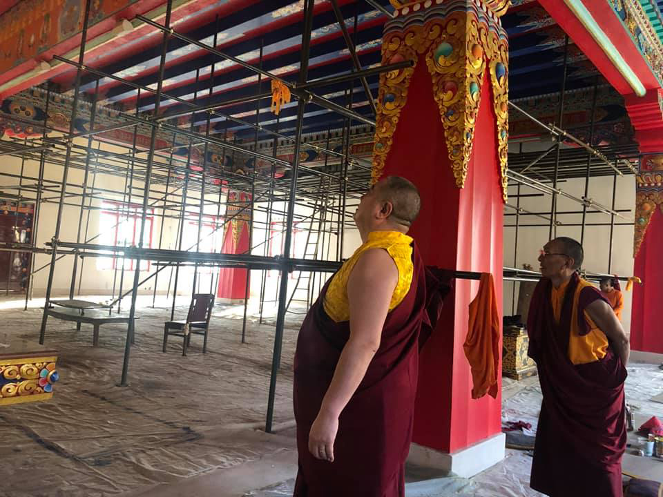 Rabjam Rinpoche supervising the reconstruction of the temple