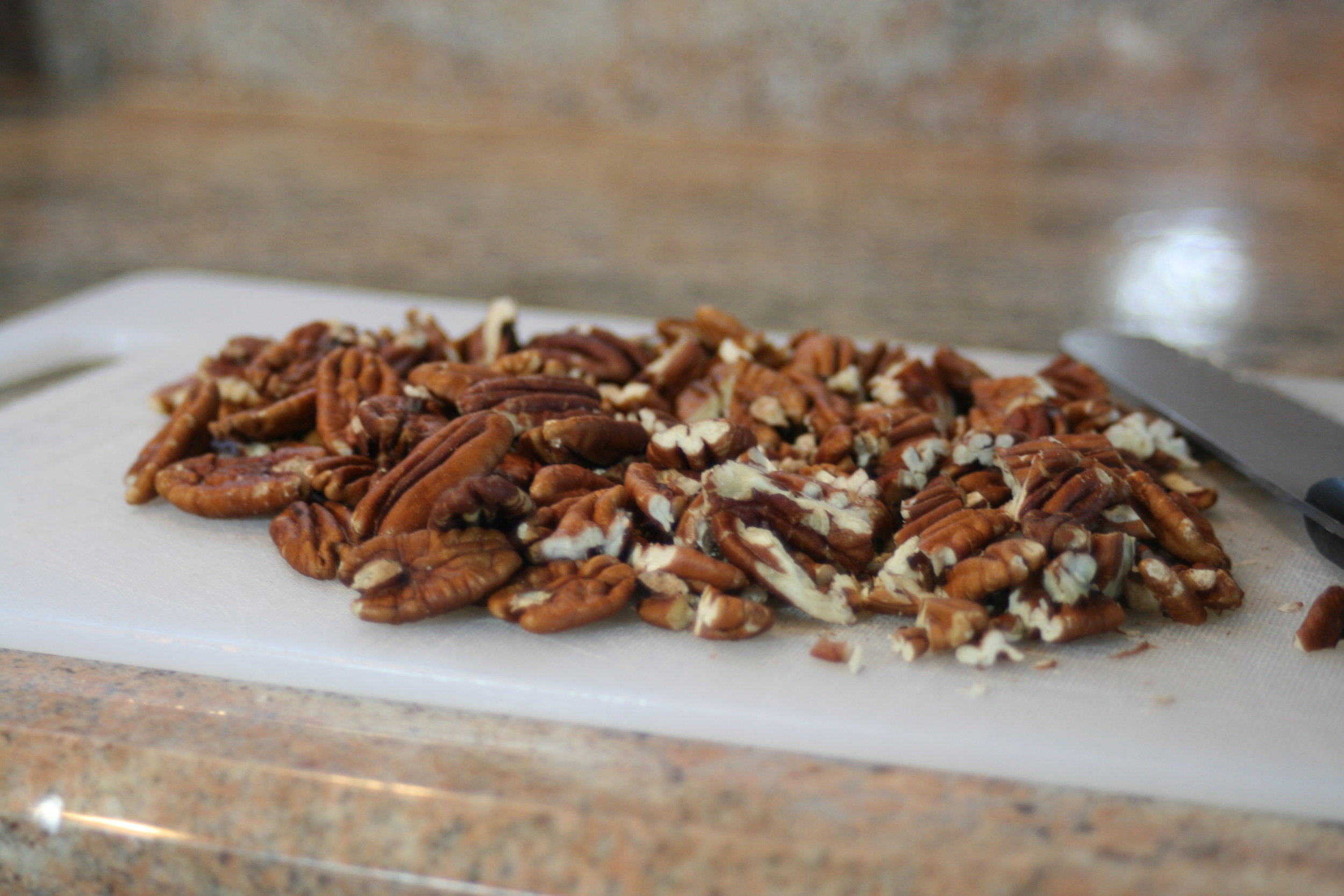 Coarsely chop nuts. Pecans are our favorite, but walnuts would be good too!