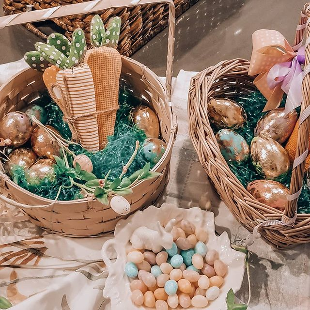 My girls' Easter Baskets! Around for 32 years! Part of our Easter Brunch Decor #easterbasket #easterdecor #easter brunch