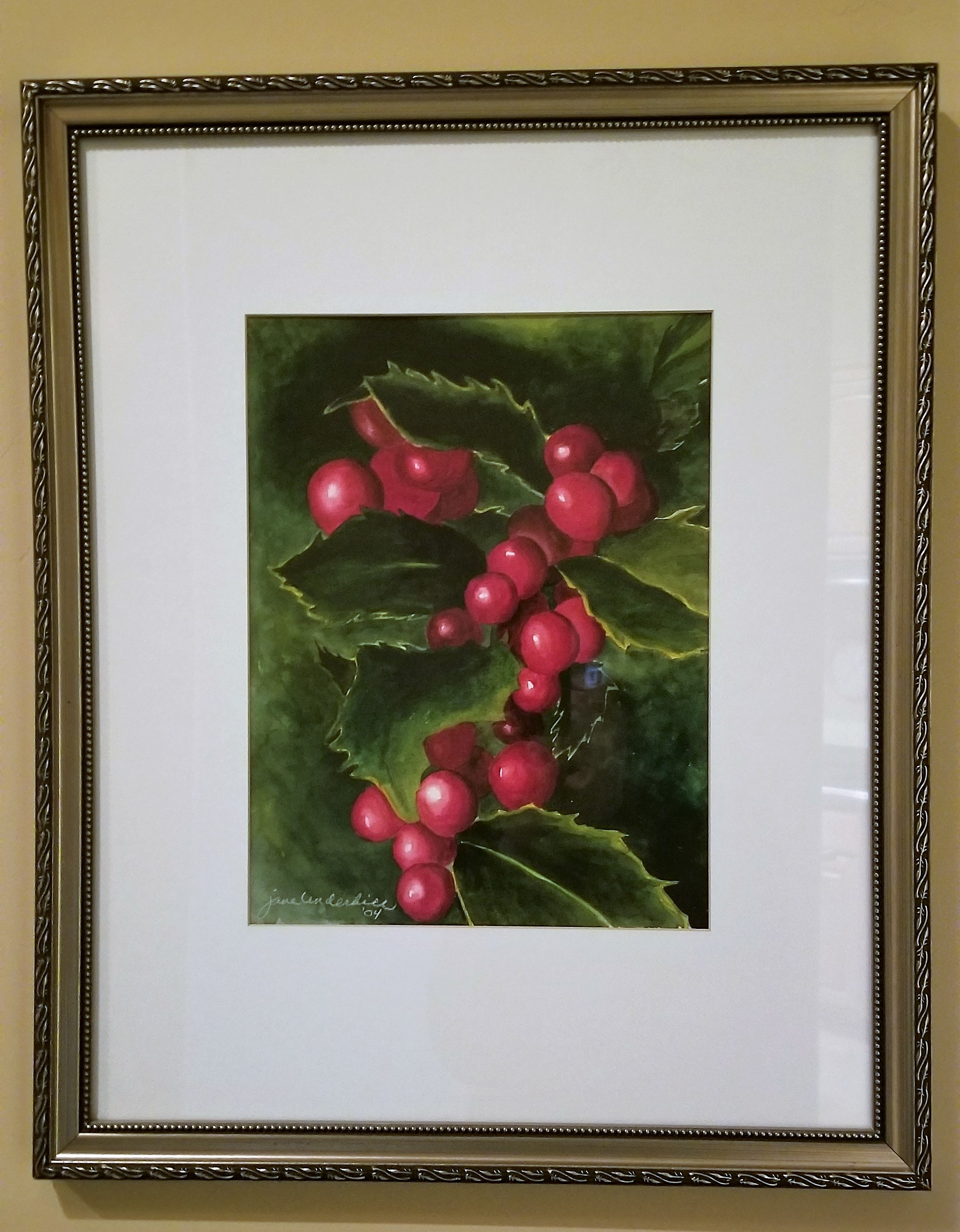 Holly leaves and berries reflect Jane and her family's love of Christmas. This piece is in honor of her daughter, Holly!