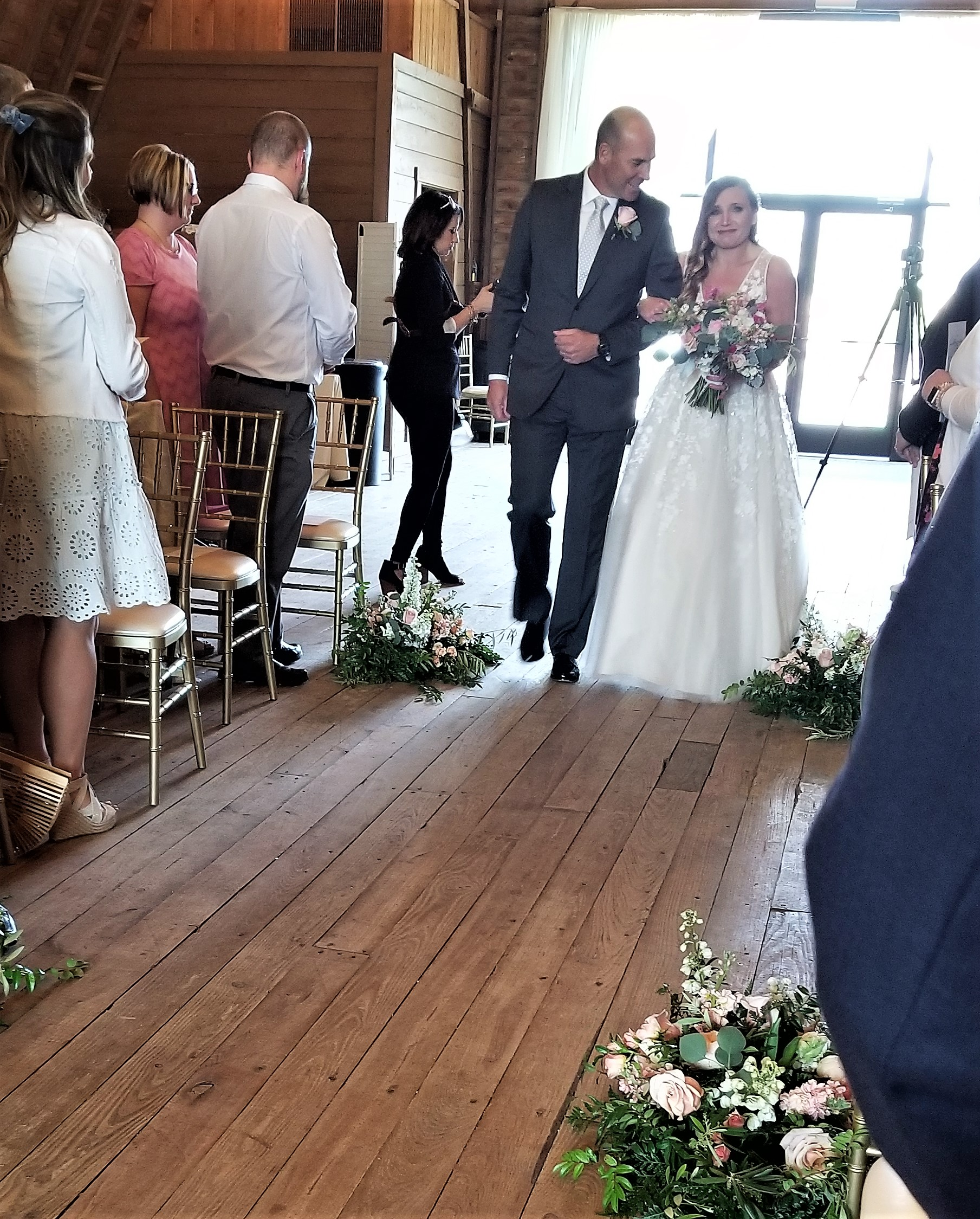 A teary bride and a proud dad!