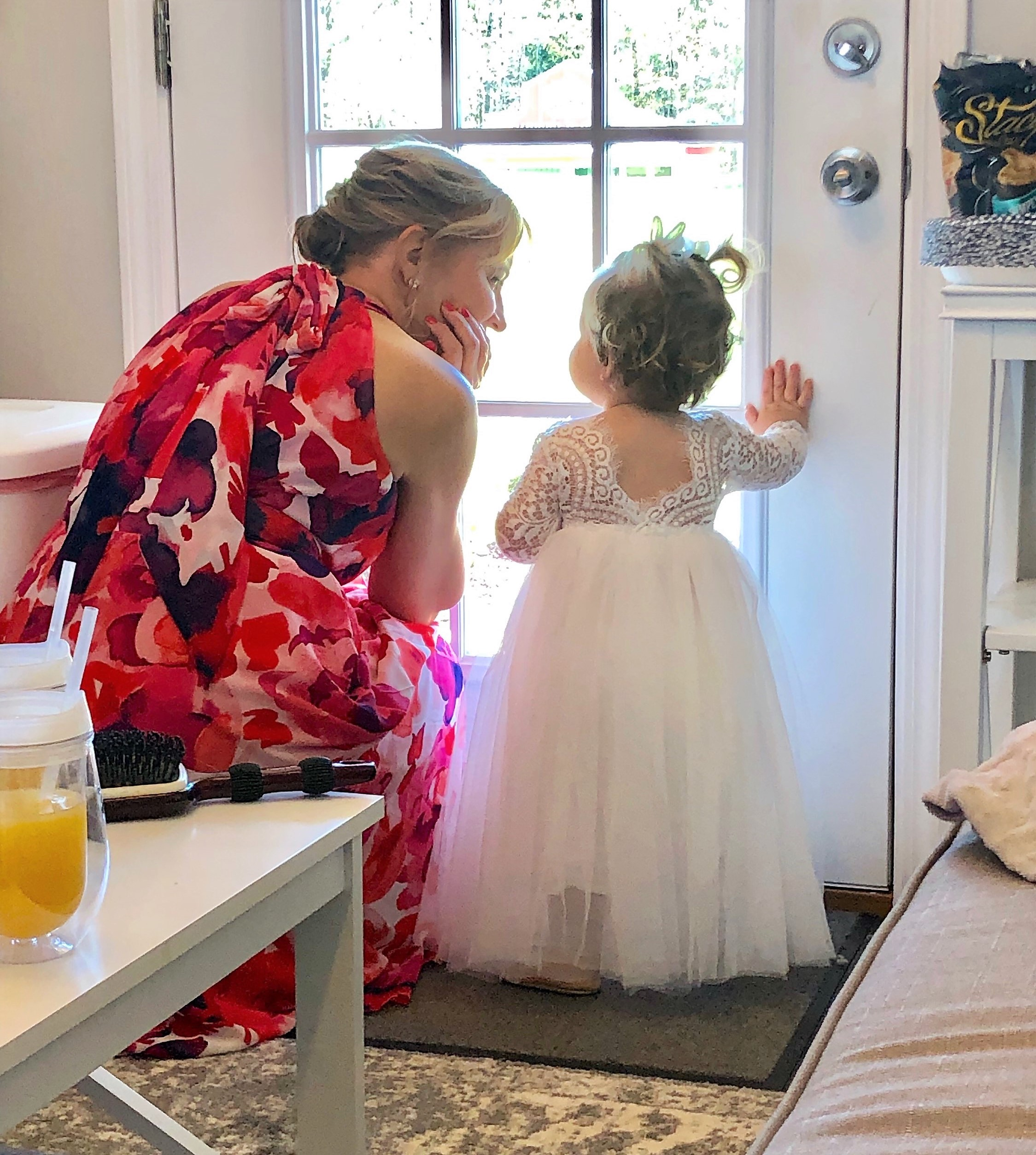 My sister Jen with her youngest grand-daughter and flower girl, Claire, before the ceremony.