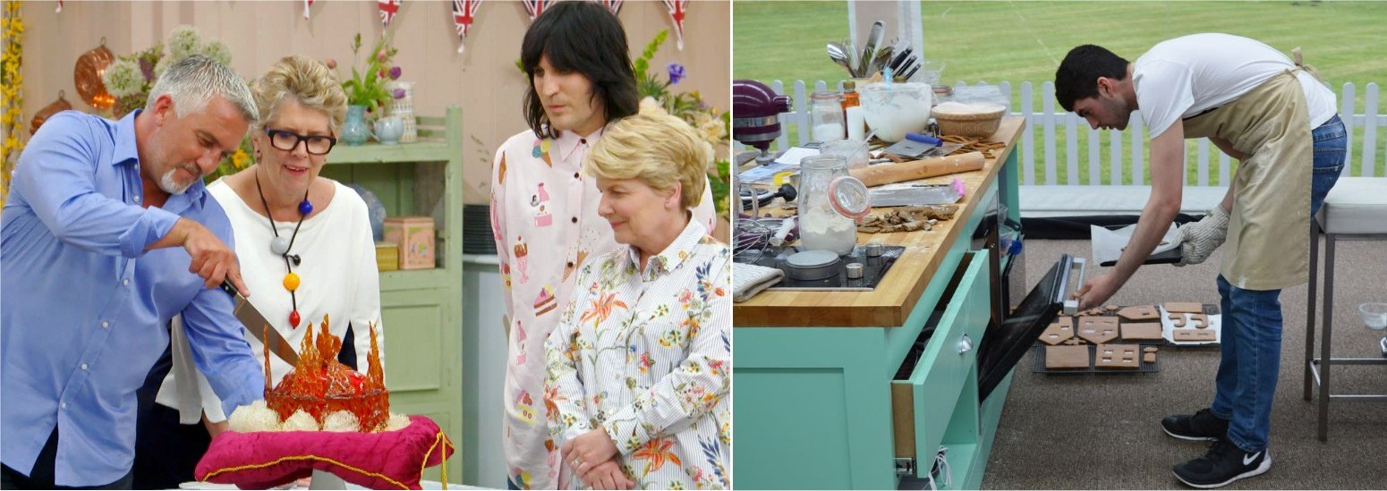 The great British Baking Show cast and set pictures.