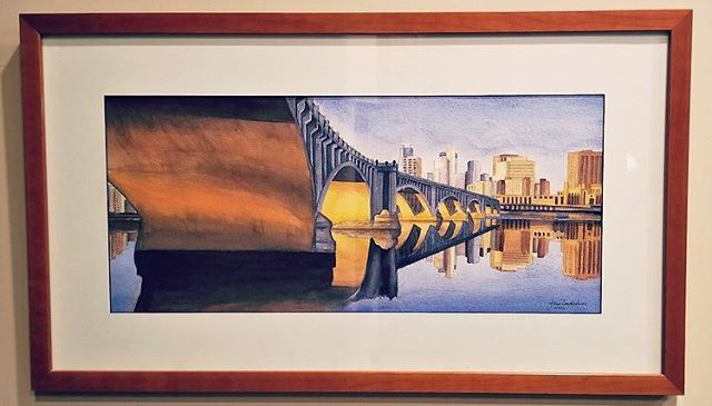 My friend Jane Underhill is an amazing artist. This piece is of a bridge in the Twin Cities. Check out her website www.janeunderhill.com #art #twincities #artist #fineart #janeunderhill #bridge