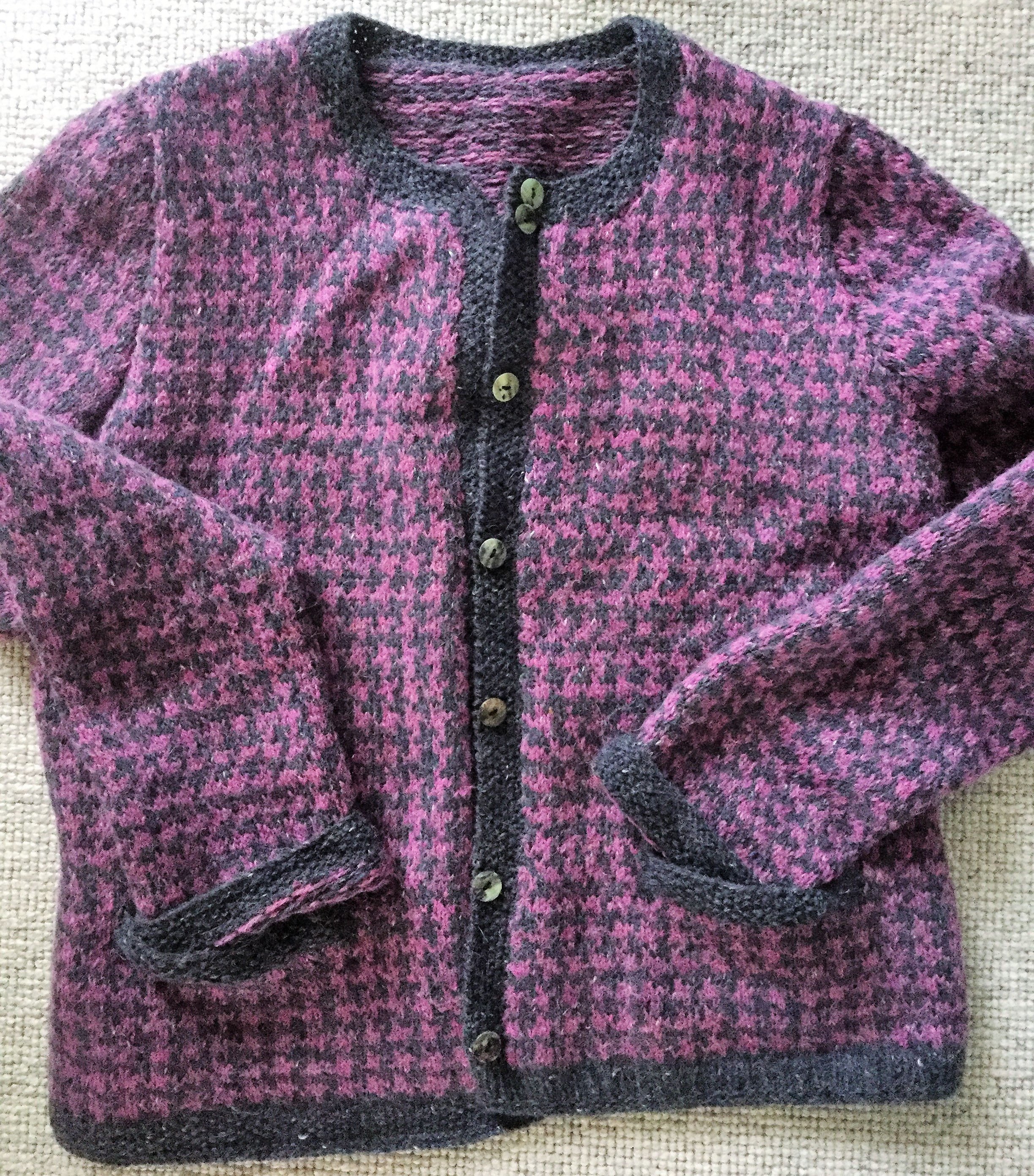 Pink and navy houndstooth handmade sweater