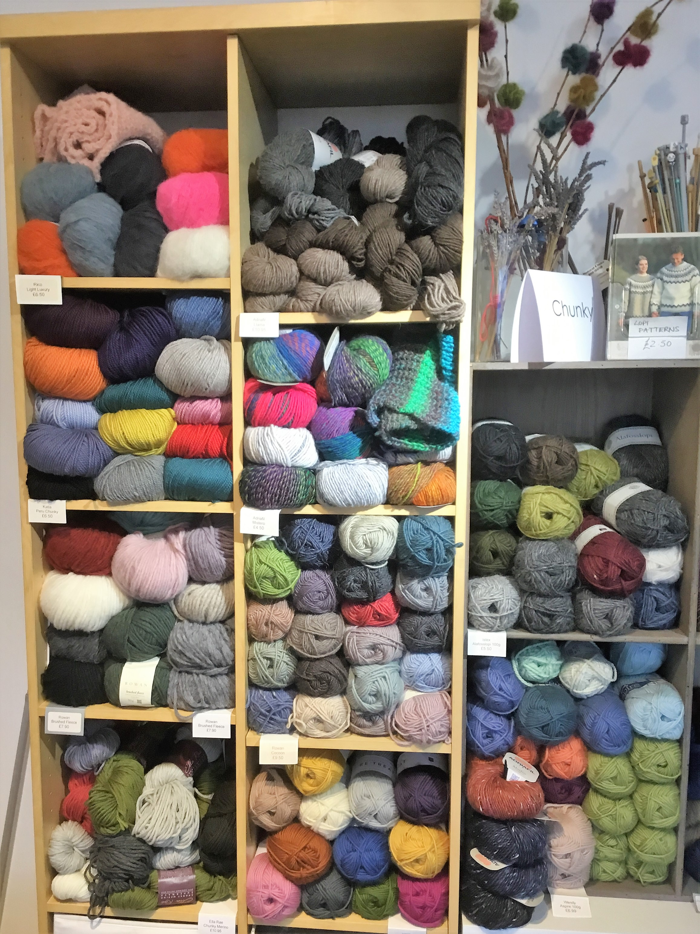 A kaleidoscope of wool yarn colors at the neighborhood yarn shop in Herne Hill.