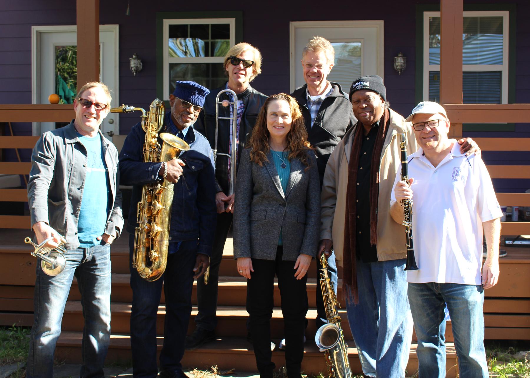 At our  Swamp Romp  recording sessions - (L-R) Kevin Clark, Roger Lewis, Craig Klein, Johnette Downing, Scott Billington, Kevin Harris and Tim Laughlin.