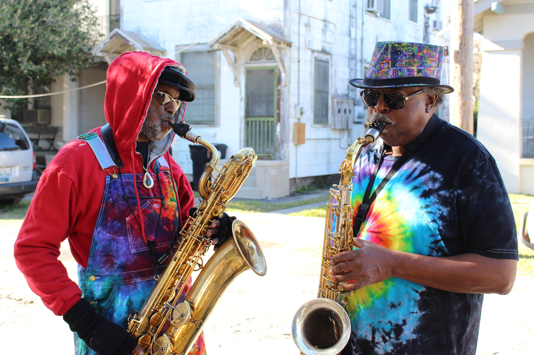 """Roger Lewis and Kevin Harris at the video shoot for """"Bamboula Rhythm."""""""