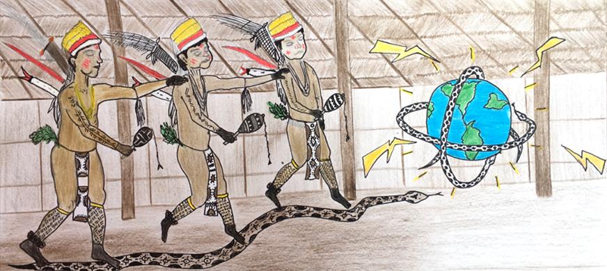 ilustración de Miguel Nuñez, tecnologías desde el saber ancestral