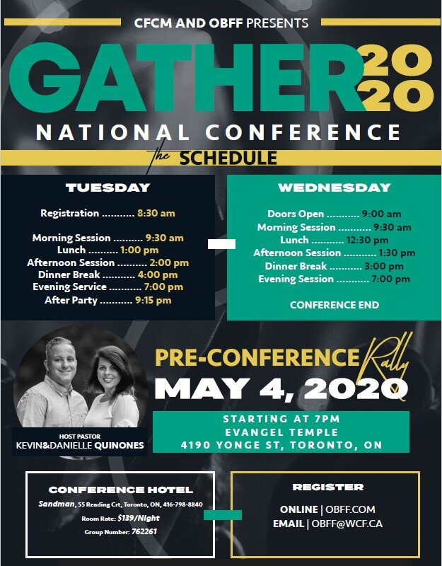 Gather 2020 Schedule, Hotel & Pre-Conference Rally