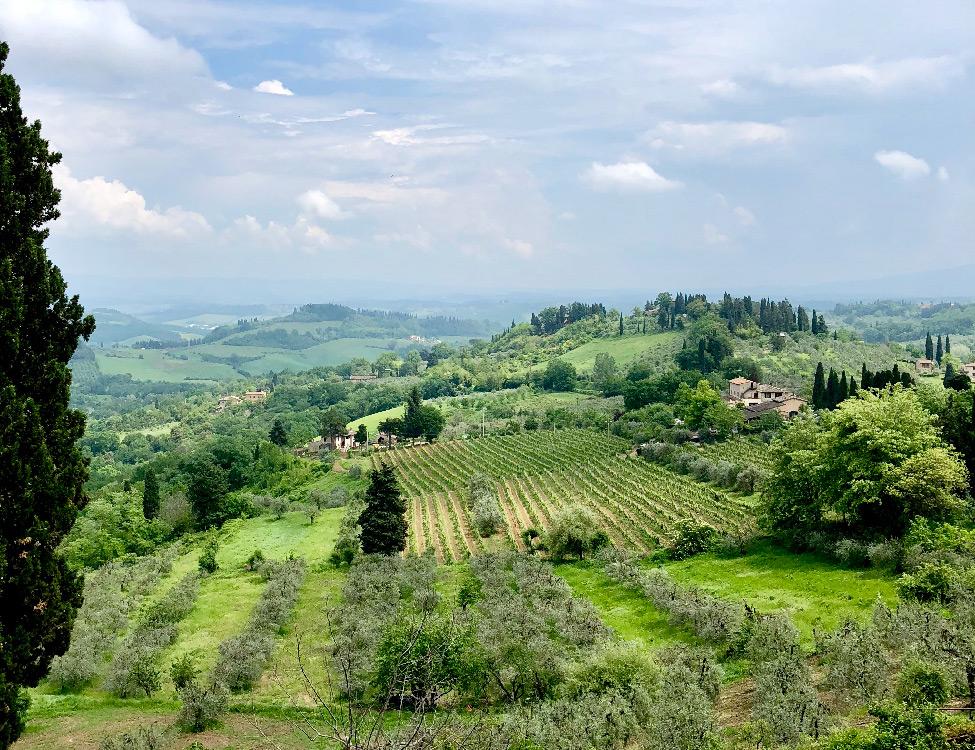 View of Tuscan hills, San Gimignano, Italy