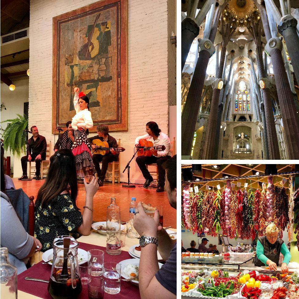 Flamenco dancing, Sagrada Família, and La Boqueria Market, Barcelona, Spain