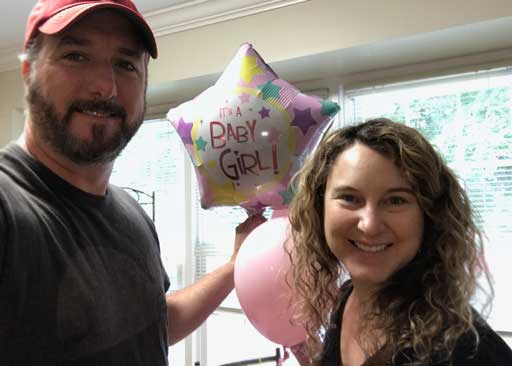Charlotte surprised us with a balloon delivery to reveal we were having a girl.