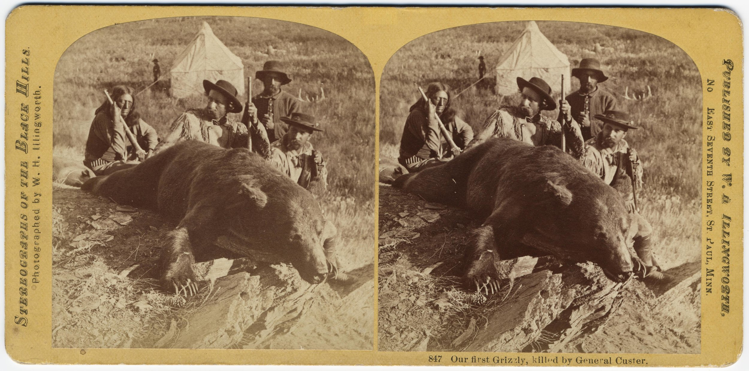 Custer Expedition Stereograph:  This expedition into the Black Hills in 1874 began the first documented history of the area. Lt. Col. George A. Custer poses with his first grizzly bear in this William Illingworth photo. See our PastPerfect page to see the whole series of stereographs.