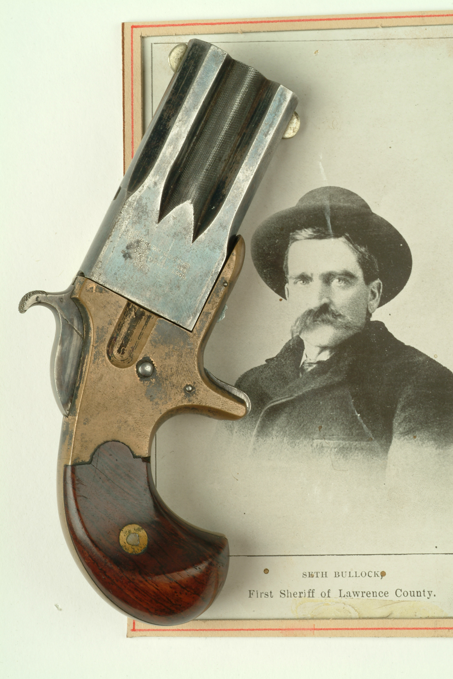 Seth Bullock:  The first Sheriff of Lawrence County, Dakota Territory. This Derringer pistol was a gift from Bullock to James Halley II, who was the first telegraph operator in the Black Hills.