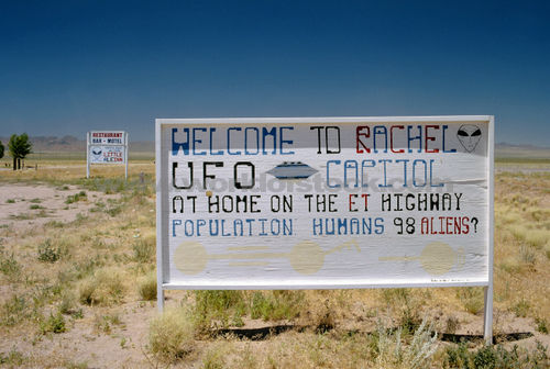 A sign welcoming you to Rachel,NV the UFO capitol of the country.