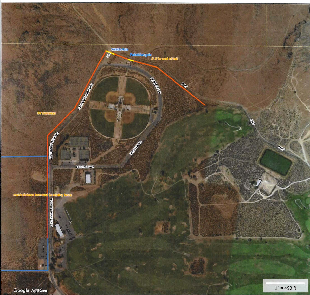 A map of the fence that will aim to protect wild horses from getting hit by cars.