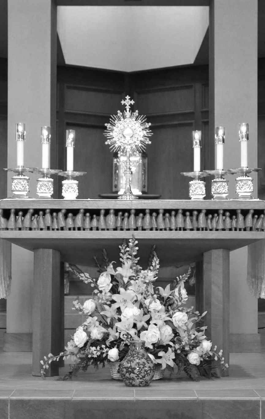 "Adoration - Our Blessed Lord was quite clear: ""Without me, you can do nothing"" (John 15:5). And so, it behooves us as a parish family to remain united with the Eucharistic Lord. In addition to our regular times for adoration, we also have the following opportunities: Sunday, the Solemnity of Corpus Christi, from 12:30-4:30pm Friday, the Solemnity of the Sacred Heart, from 7:30am-7:00pm If you are interested in promoting Eucharistic Adoration, please contact Glen Koziuk through our front office at (719) 598-3595."