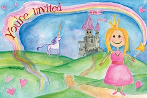 """Princess Party Invite - Large sized post card, 6.25"""" x 4.5""""12 for $8.00"""