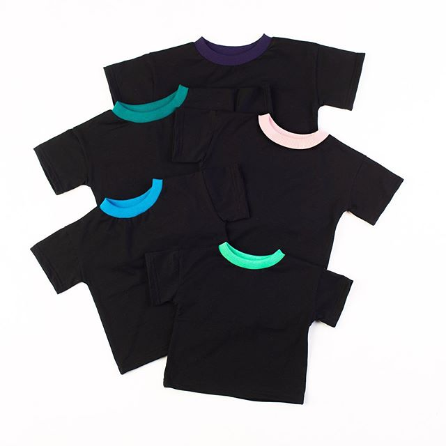 The Almost Basic Tee. Black is a good color for your kid's wardrobe because it goes with everything and hides all the filth they collect  throughout the day. I have one in 12M through 4Y and can definitely make more!