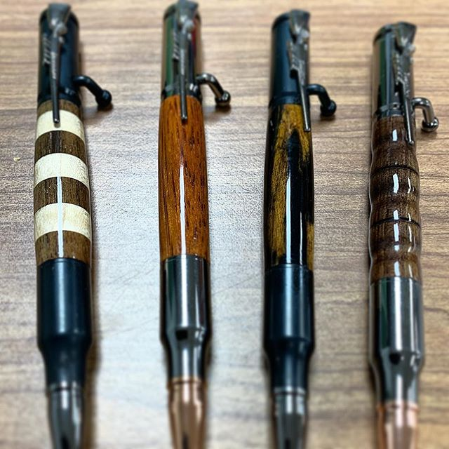 Have some new bolt action pens done! Very excited to bring the joy of handmade gifts to everyone! To give one of these to your friends or family, check out tsquaredwoodworks.com/store #boltaction #woodenpens #handmadegiftsarethebestgifts #buylocal #imadeapen #woodturning #woodworking #tsquaredwoodworks