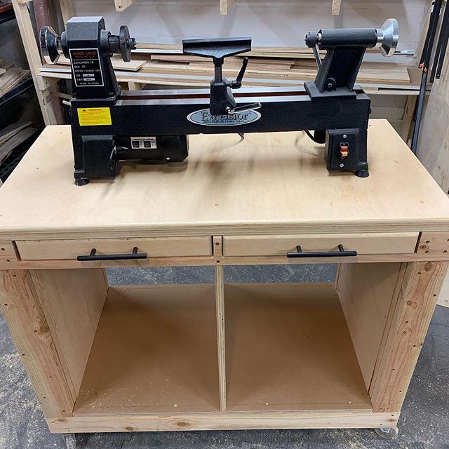 New tool in the shop, ready for some cylinders to be made! Thanks @wilker_dos for your lathe cart design! Easy build and I can jump on this thing without it flexing one bit! #woodworking #woodwturning #proudnewparent #cantwaittomakemoresawdust