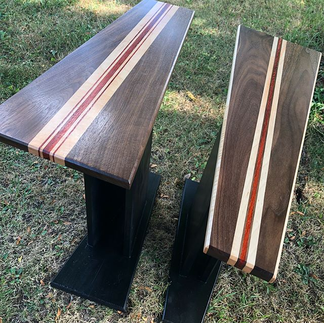 Finished project! Had a need for some very odd shaped end tables and decided to make them #extrafancy. Loved making the tops for these and they turned out great in the space! The wood used was walnut, curly maple, and padauk. Let me know what you think of these! Have you ever needed that odd shaped table for a tight space? If so, let me see if I can help!