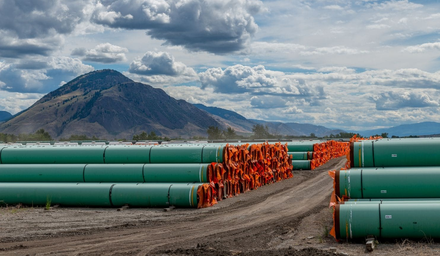 Steel pipes to be used in the construction of the Trans Mountain Expansion Project in Kamloops, British Columbia (Dennis Owen/Reuters).