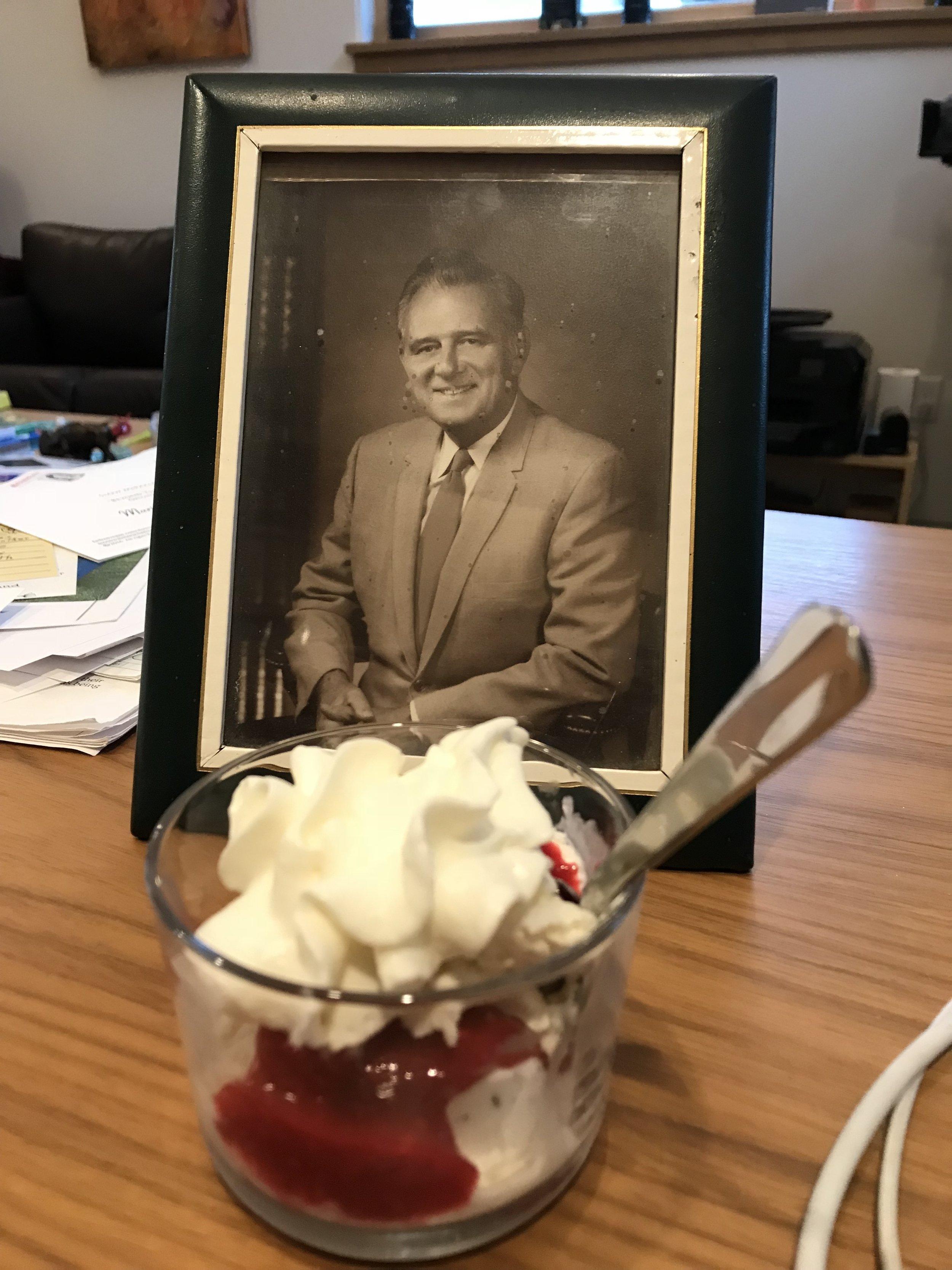Breyer's Vanilla Ice Cream with freshly made raspberry sauce and Reddi Whip