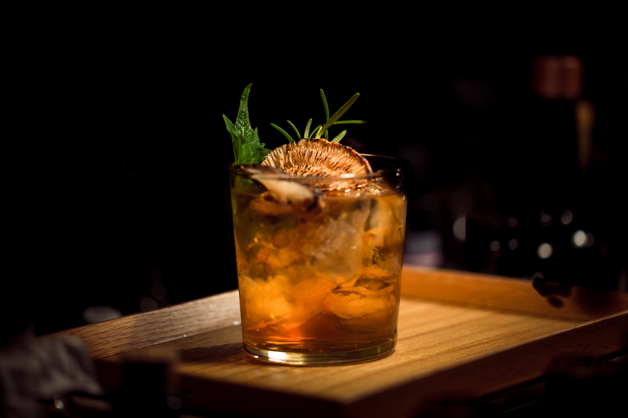 Smoke & Stormy - Dark Rum, Ginger Beer, Orange, Smoked Glass | 12