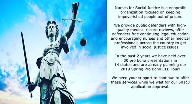 Consider giving to Jennifer Grossman's amazing non profit today on giving Tuesday!  Working to keep people from going to prison for being poor - since 2016! Nurses4SocialJustice.org