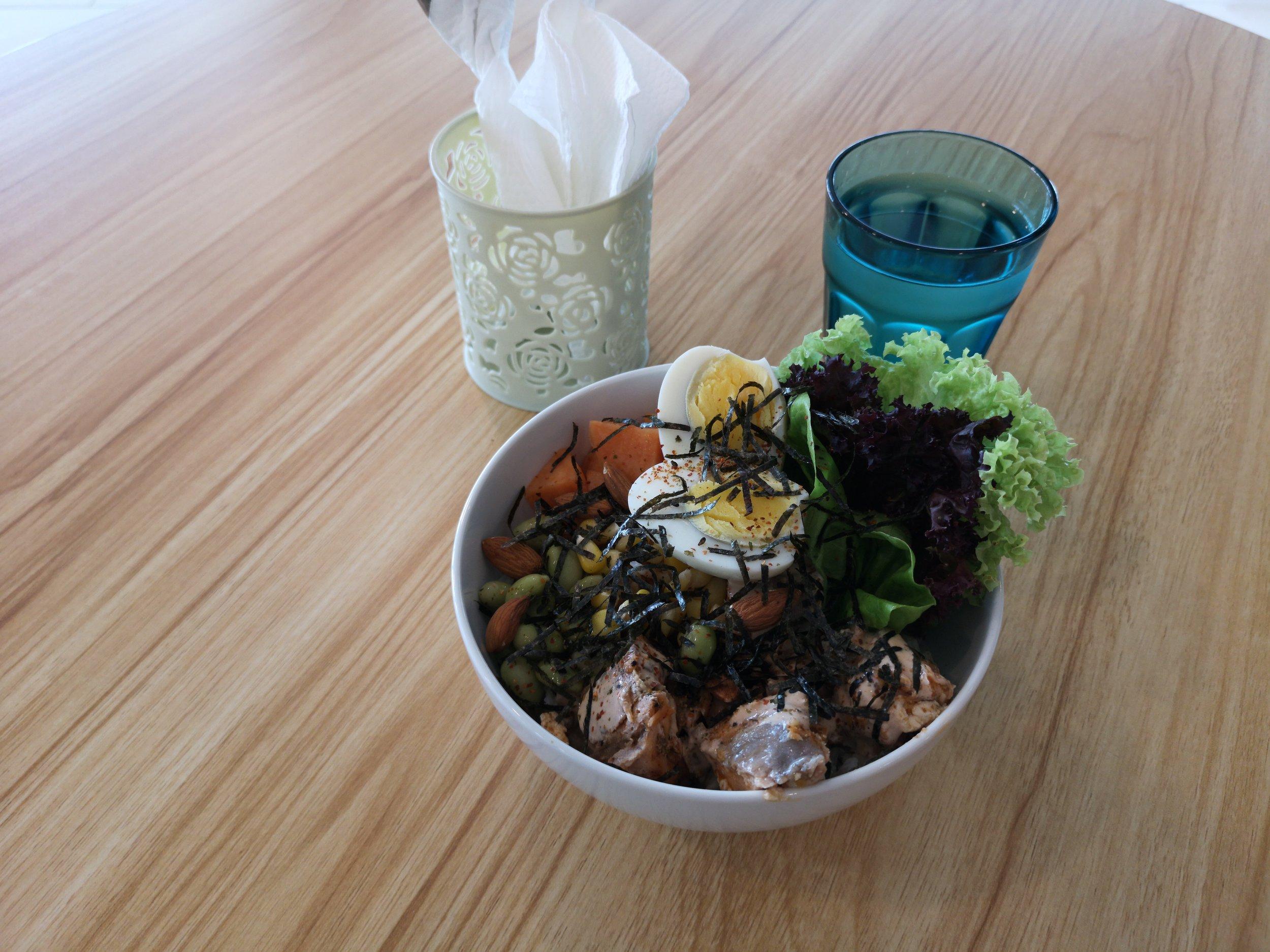 PekoPeko Cafe Poke Bowl (Complimentary water as well, service is good!)