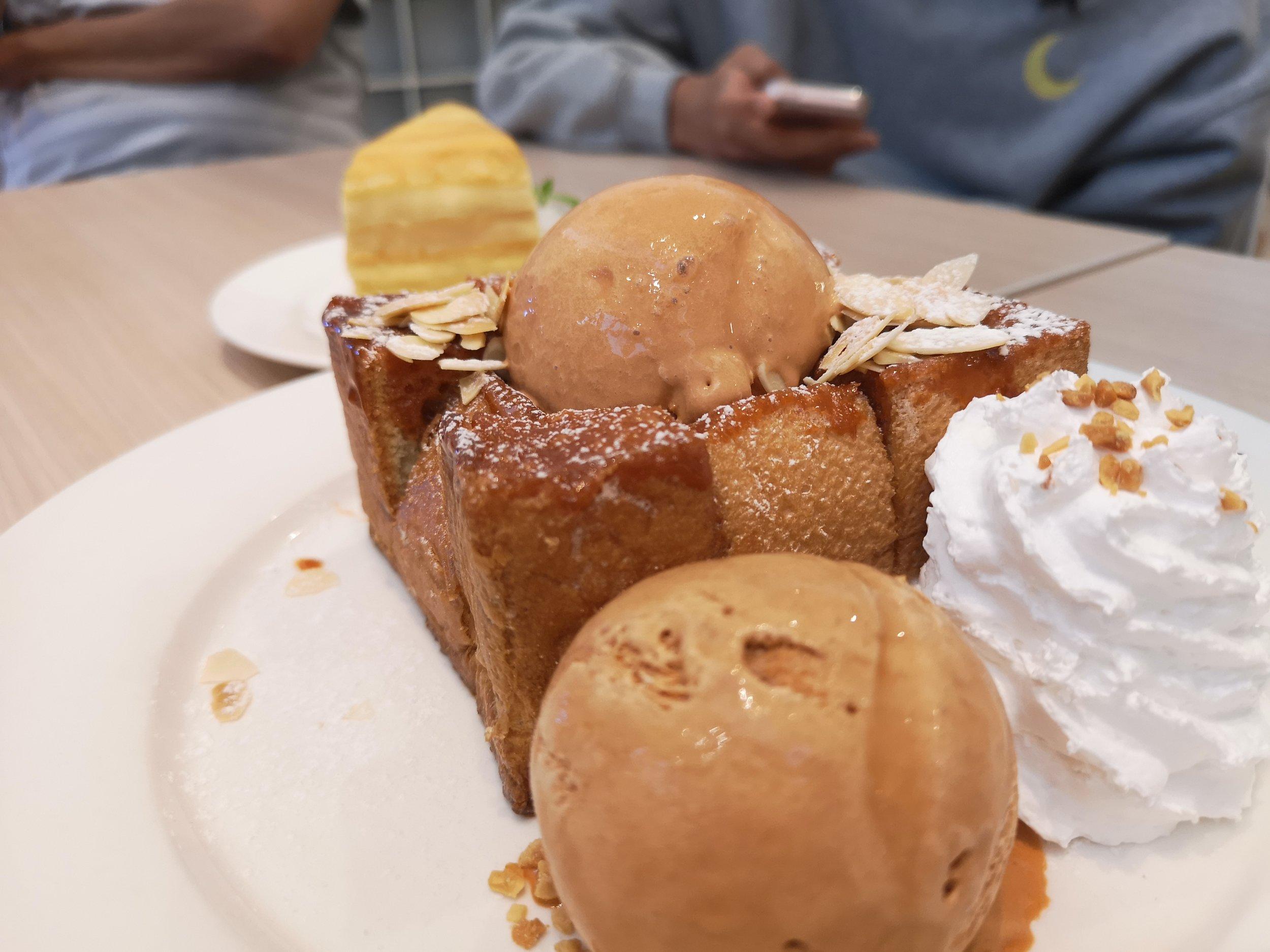 Miru Dessert Cafe Thai Iced Tea Ice Cream with Toast