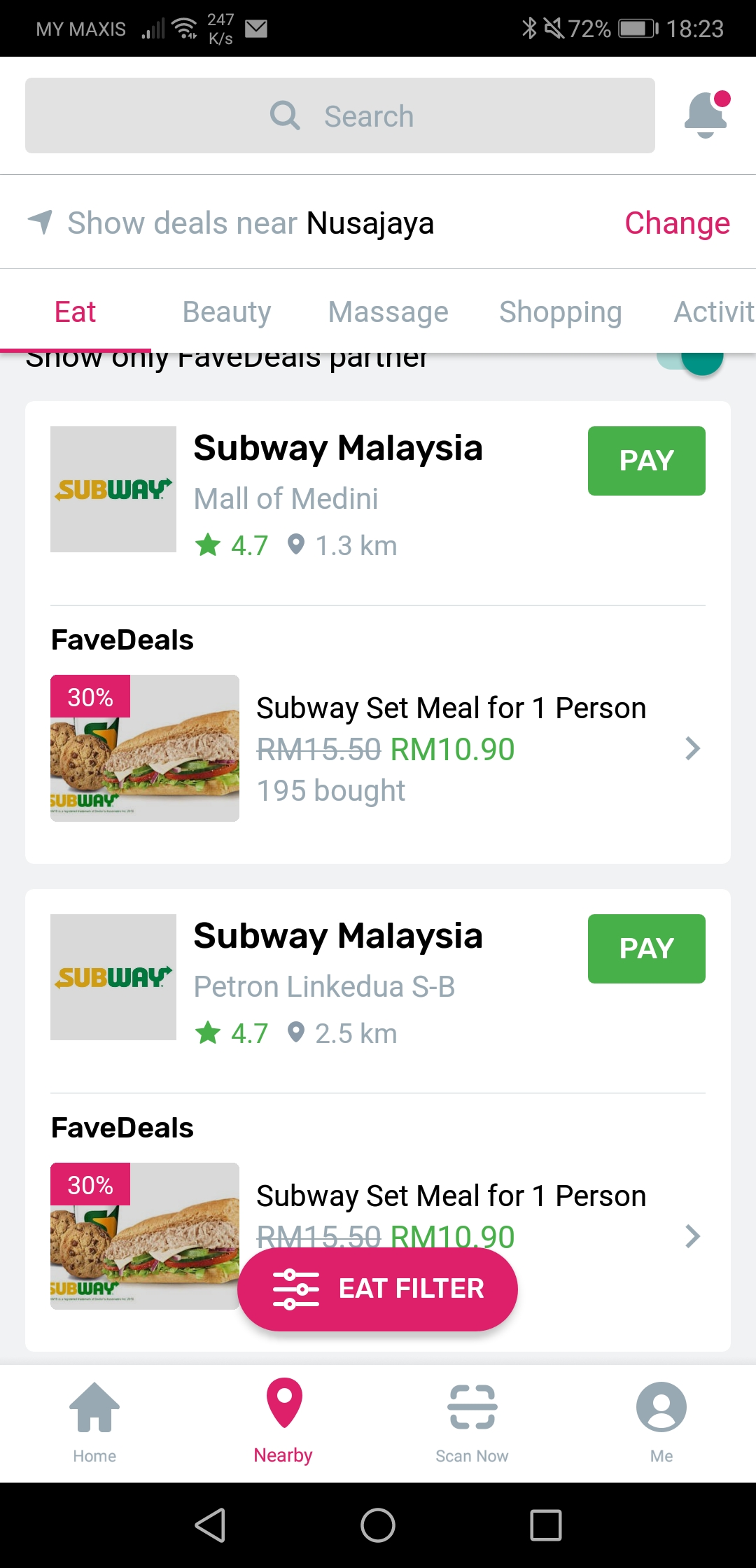 Fave Pay Deals Subway