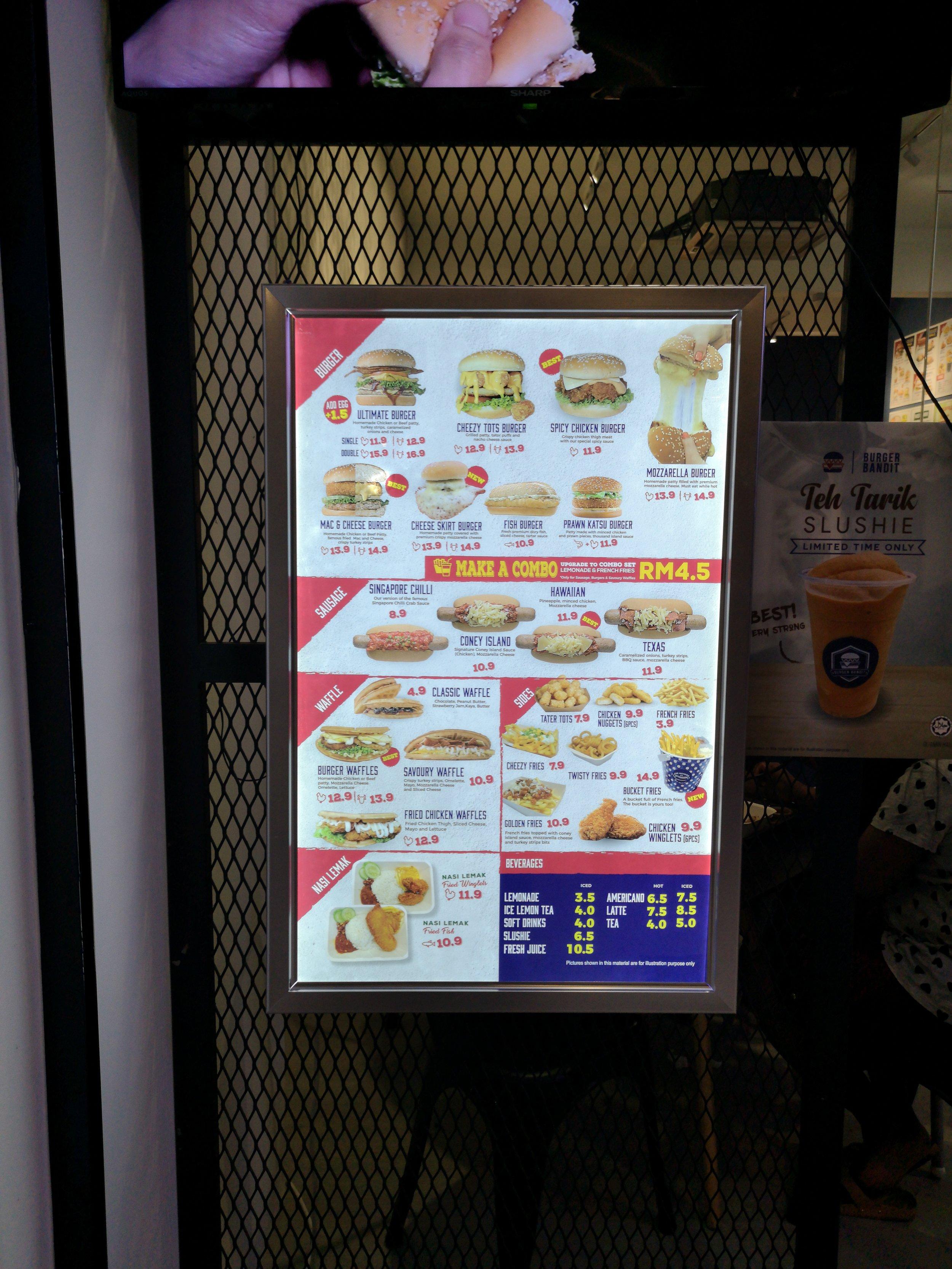 Burger Bandit Johor Bahru Menu Prices