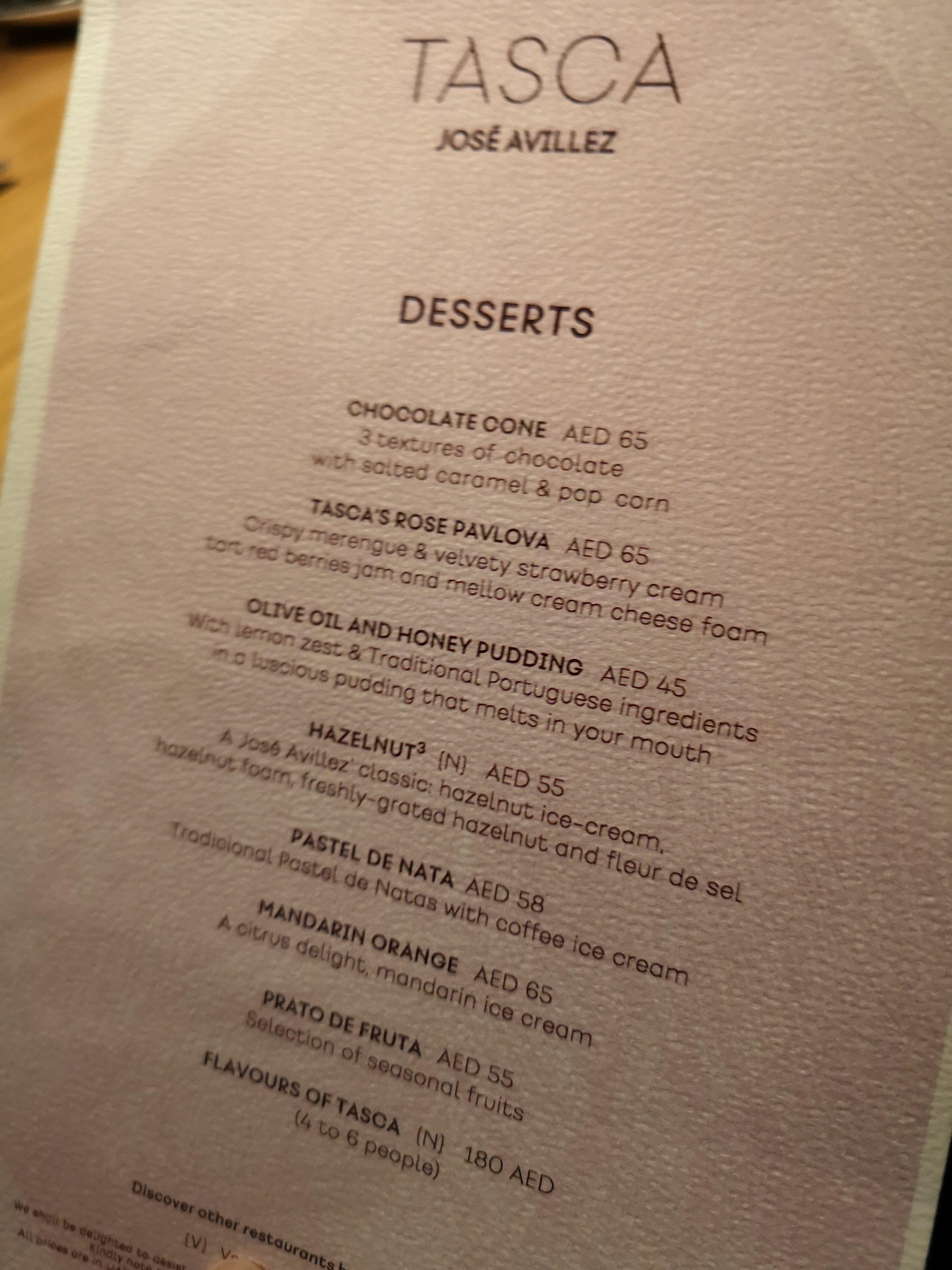 Tasca, Mandarin Oriental Dubai Dessert Menu