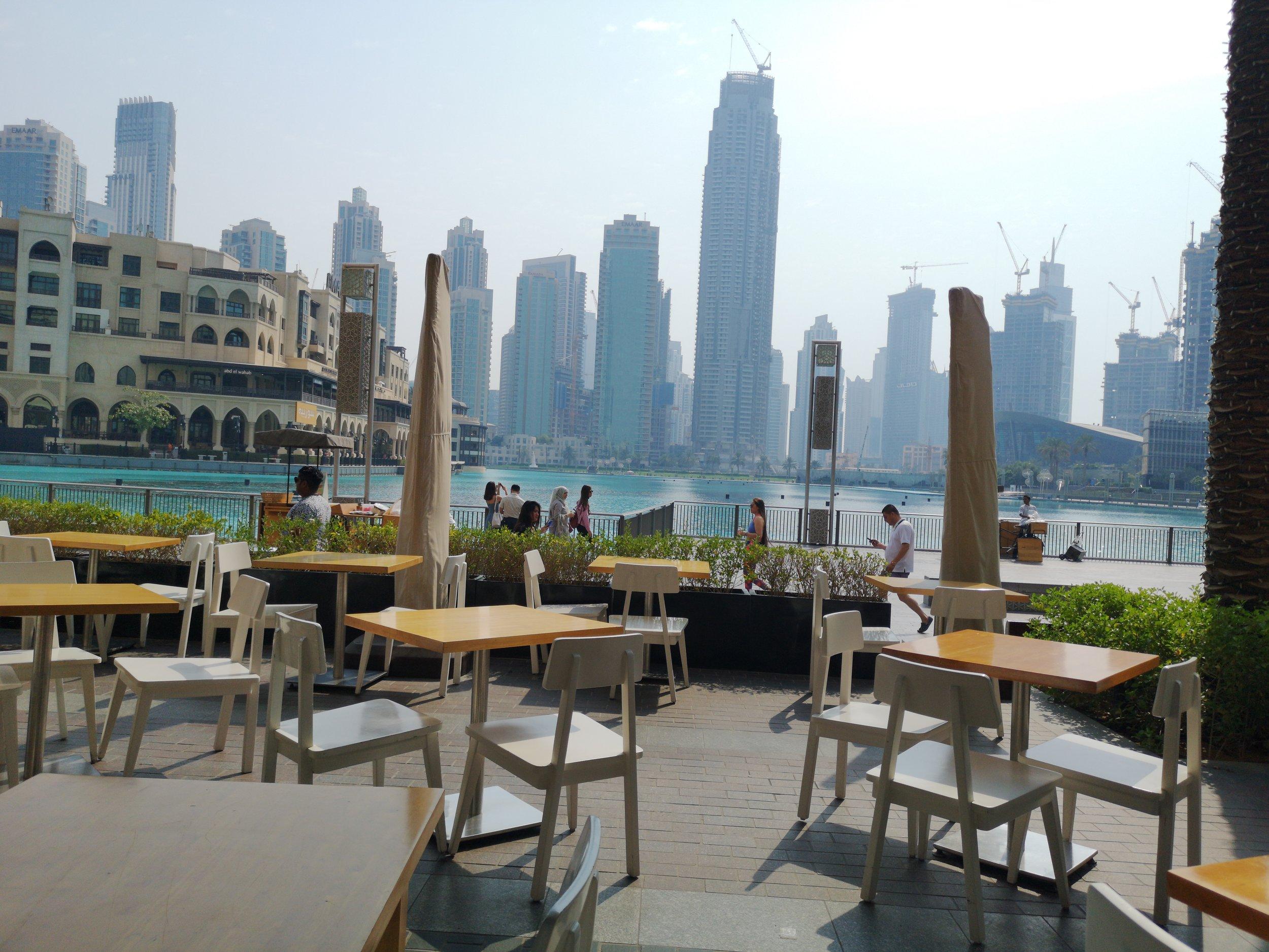 The beautiful view of Dubai Fountain from Social House Dubai Mall