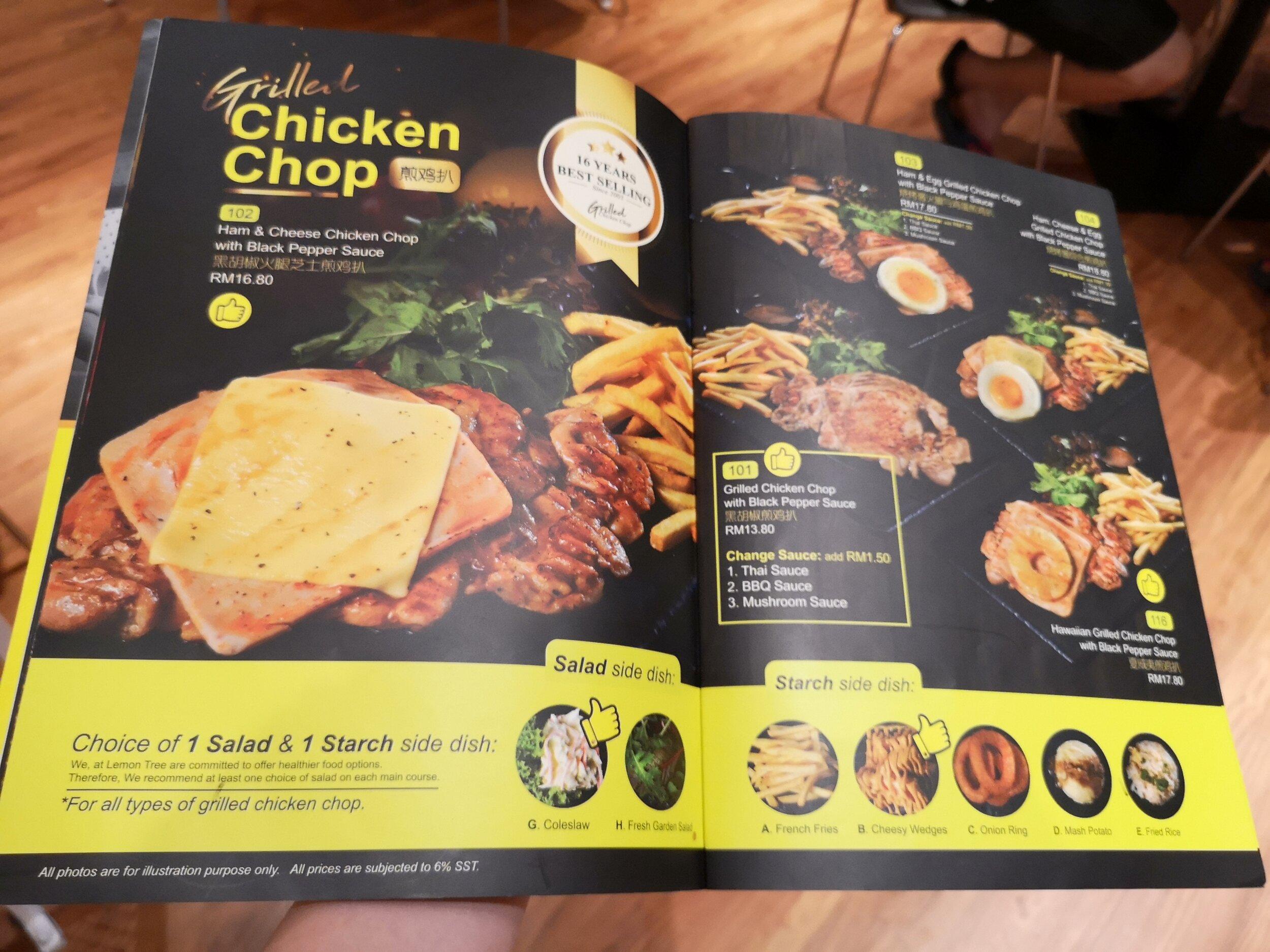 Lemon Tree Chicken Chop Menu
