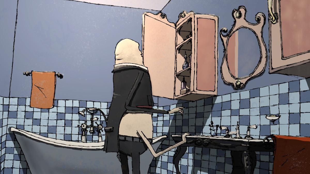 Concept art for the bathroom scene
