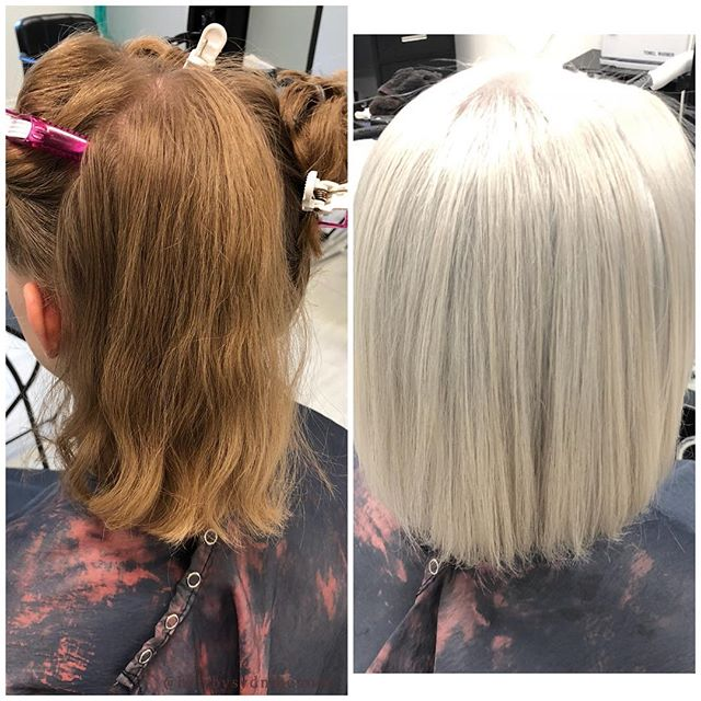 Before and after done by Sydni! @hairbysydnibenner #colorcorrection #blonde #ashblonde #beforeandafter