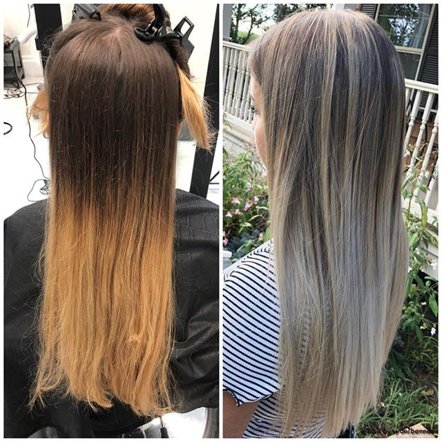 Before and After by Sydni! #beforeandafter #ashblonde #ombre #saltywaves #bumbleandbumble @hairbysydnibenner