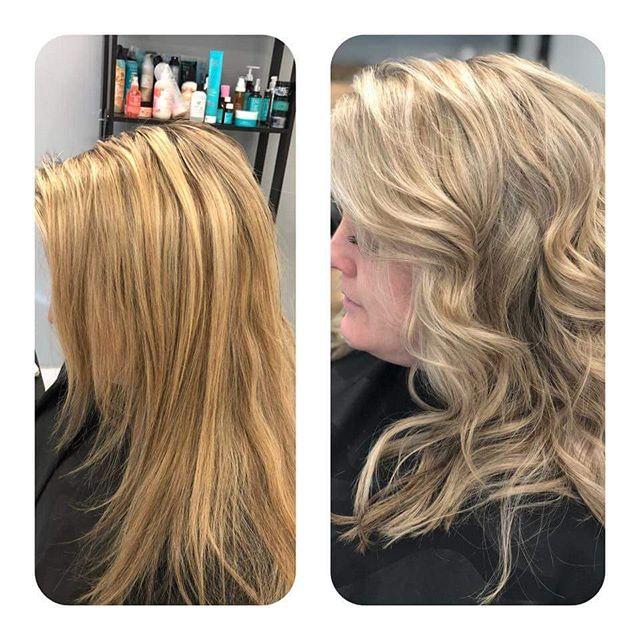 'Tis the season for blondes! #blonde #lovemyjob #coolerblondeplease #balayage #highlights #longhair #shorthair #curls #beforeandafter