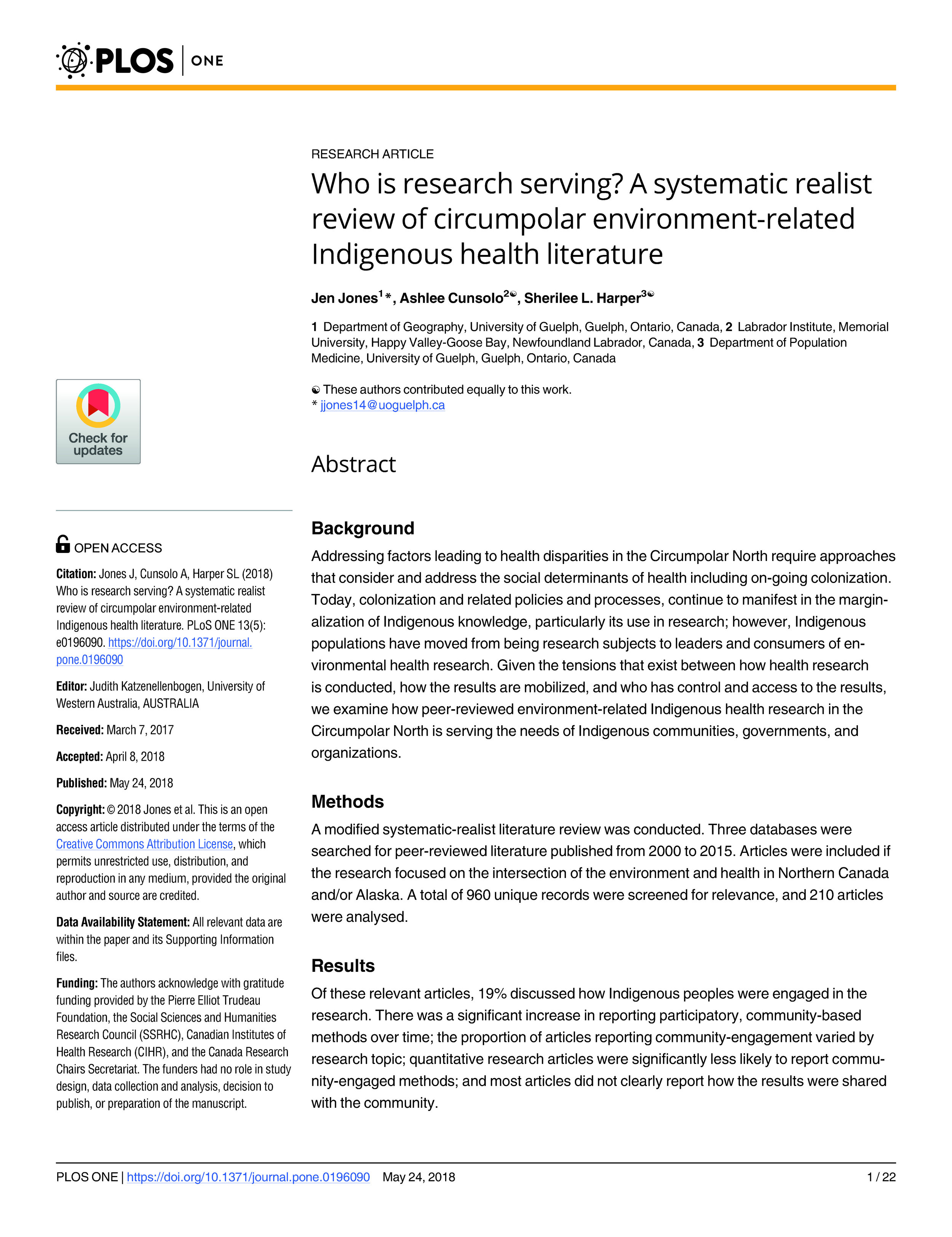 Free open-access article - Jones, Cunsolo, and Harper 2018
